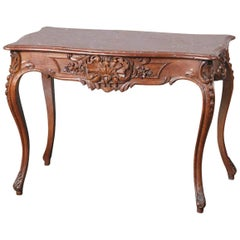19th Century Walnut Carved Table Louis XVI Style