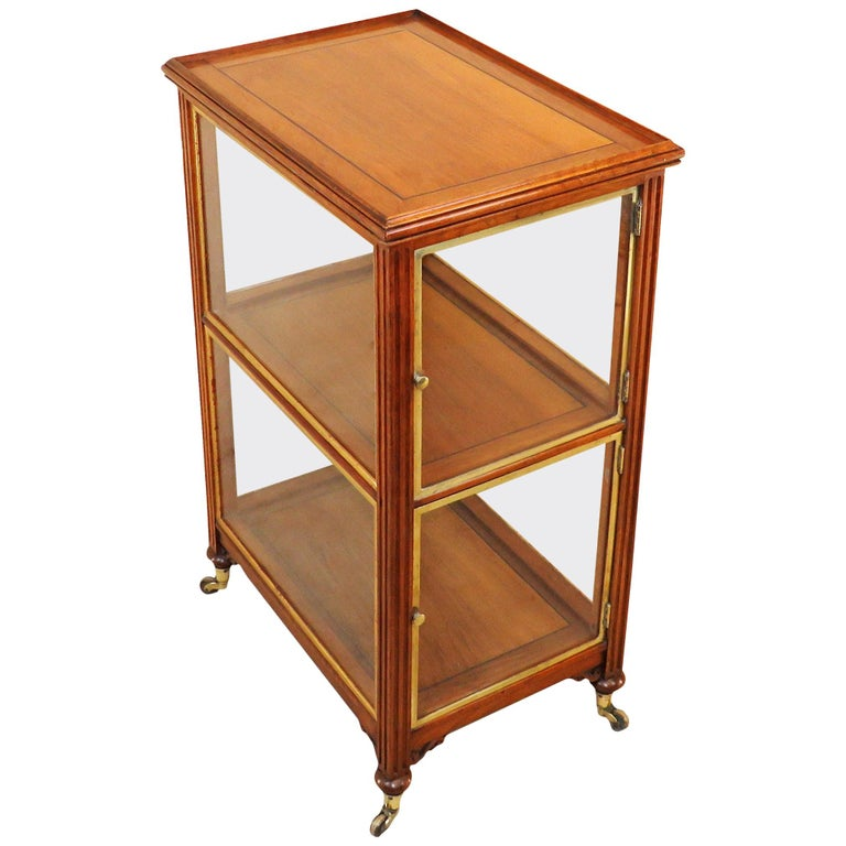 19th Century Walnut Central Standing Display Cabinet
