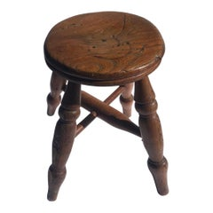 19th Century Walnut Child's Stool, Hand Carved