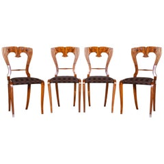 19th Century Walnut Czech Biedermeier Chairs Set of 4 Pieces, 1840-1849