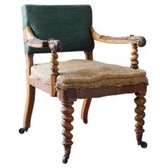 19th Century Walnut Desk Chair by Hindley & Sons