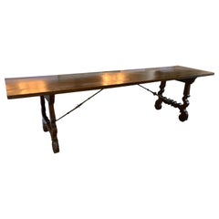19th Century Walnut Dining Table With Iron Stretcher From Spain That Seats 10