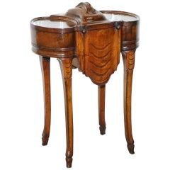 19th Century Walnut Drinks Cabinet Table, Sliding Shelves, Lock & Key Decanters