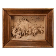19th Century Walnut-Framed Tyrolean Lime-Wood Carving
