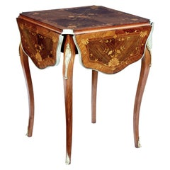 19th Century Walnut Inlaid Envelope Drop-Leaf Occasional Table