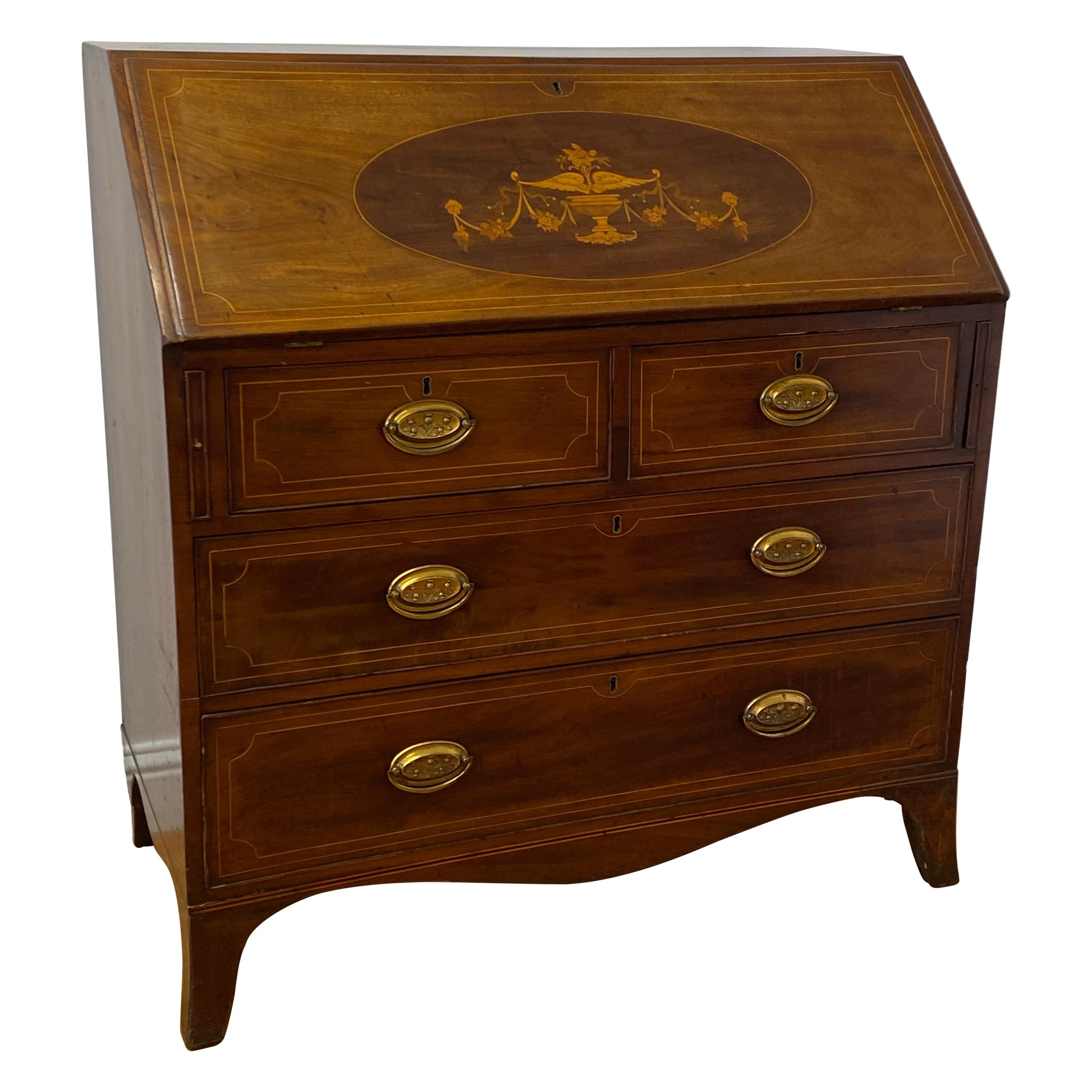 19th Century Walnut & Mahogany Drop Front Bureau Desk