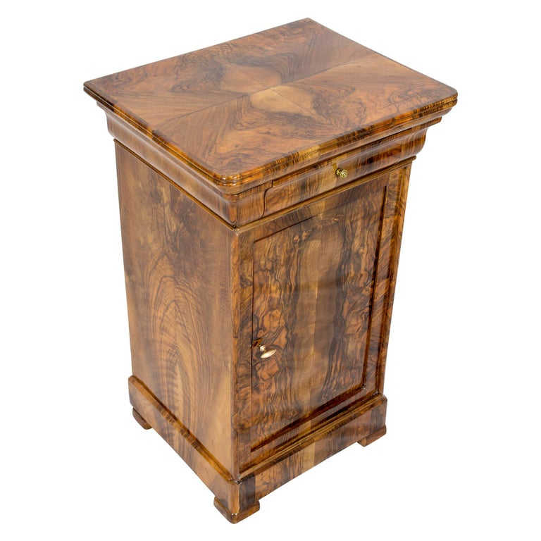 19th Century Walnut Nightstand or Pillar Cabinet For Sale 3