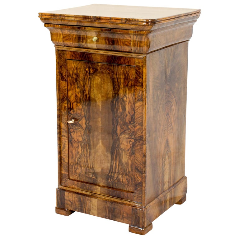 19th Century Walnut Nightstand or Pillar Cabinet For Sale