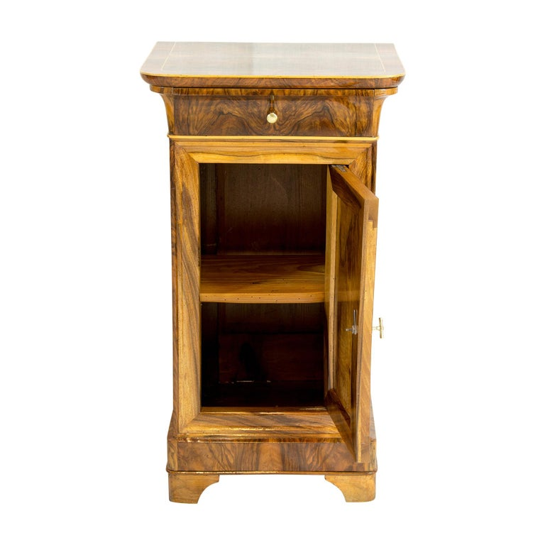 Biedermeier 19th Century Walnut Nightstand or Side Cabinet For Sale