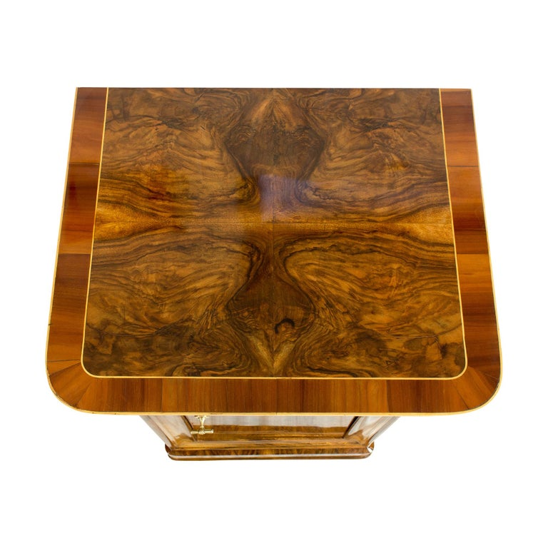 Polished 19th Century Walnut Nightstand or Side Cabinet For Sale