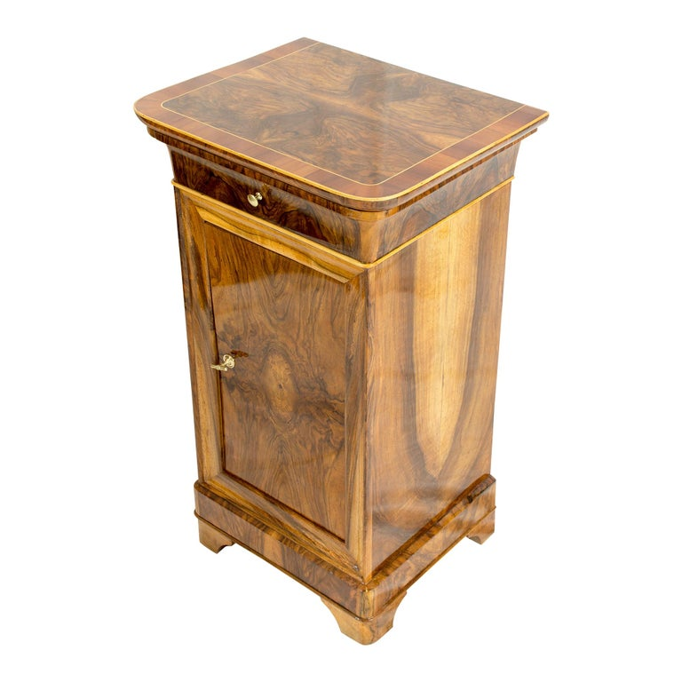 19th Century Walnut Nightstand or Side Cabinet For Sale 2