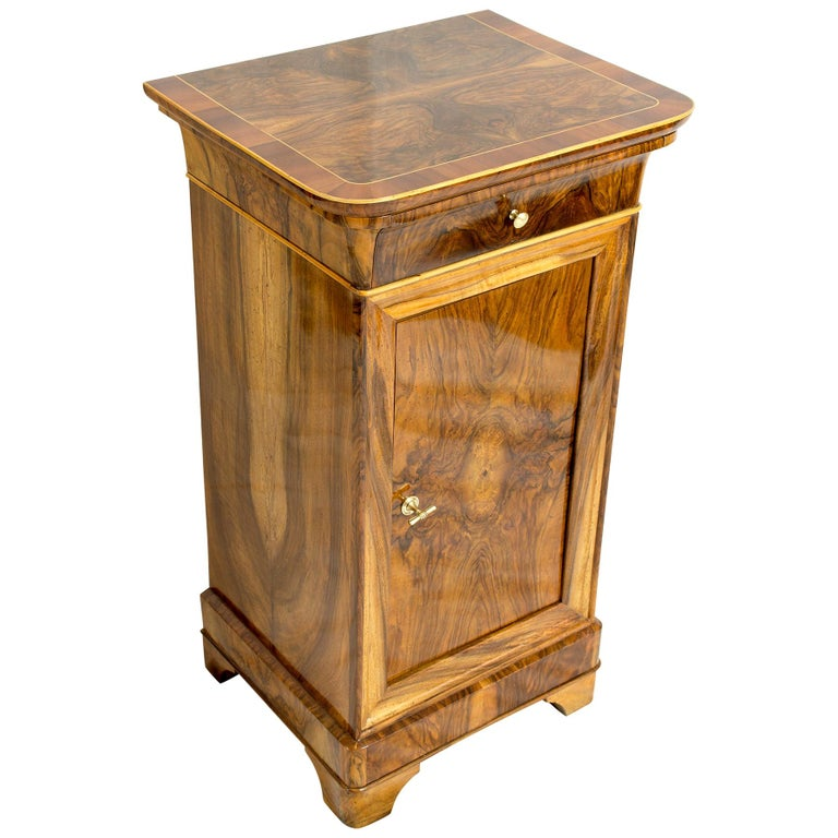 19th Century Walnut Nightstand or Side Cabinet For Sale