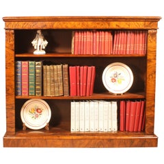 19th Century Walnut Open Bookcase from England