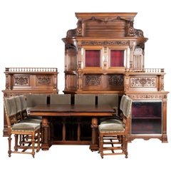 19th Century Walnut Renaissance Style Dining Room Set Hand Carved 14 Pieces