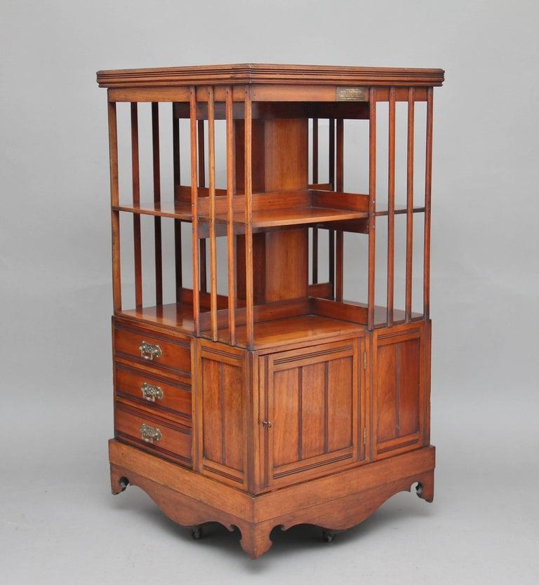 Rotating Bookshelves: 19th Century Walnut Revolving Bookcase For Sale At 1stdibs