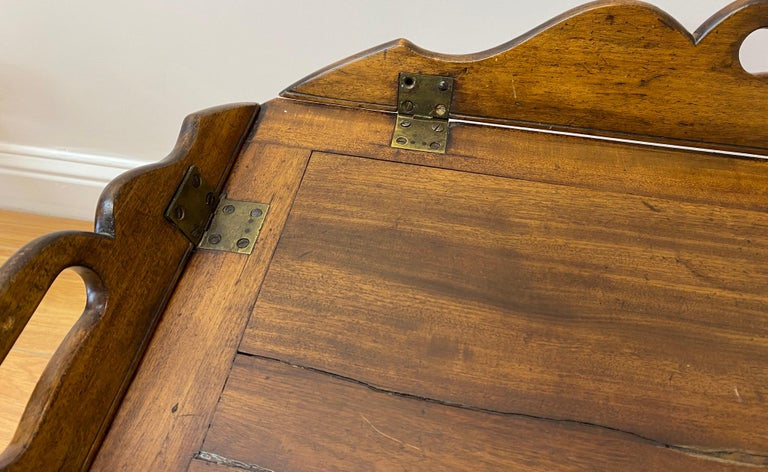 American 19th Century Walnut Serving Tray on Stand For Sale