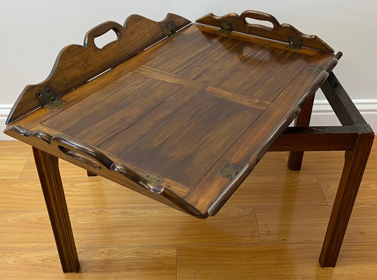 19th Century Walnut Serving Tray on Stand In Good Condition For Sale In San Francisco, CA