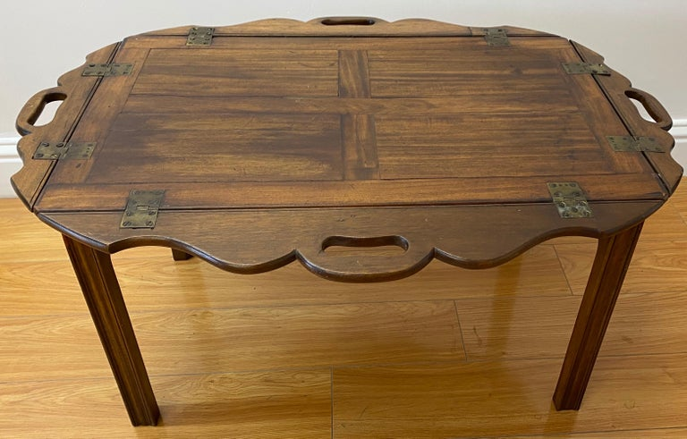 19th Century Walnut Serving Tray on Stand For Sale 1
