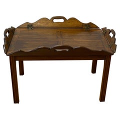 19th Century Walnut Serving Tray on Stand