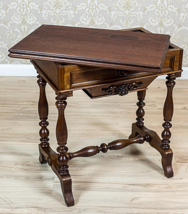 19th Century Walnut Sewing Table or Card Table For Sale 8