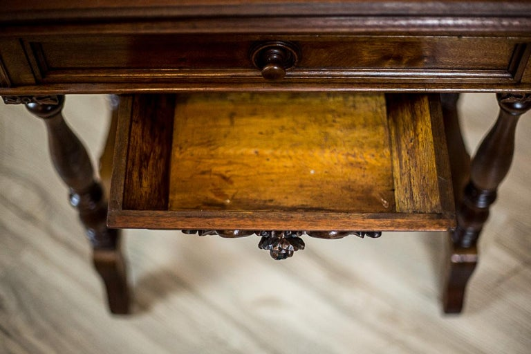 19th Century Walnut Sewing Table or Card Table For Sale 3