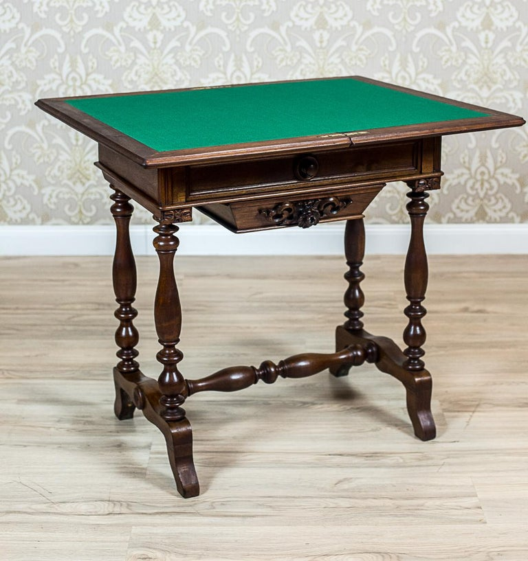 19th Century Walnut Sewing Table or Card Table For Sale 4