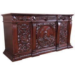 19th Century Walnut Sideboard or Bar Cabinet Attributed to RJ Horner, Restored
