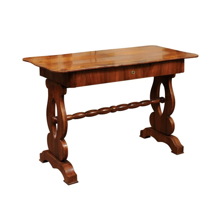 19th Century Walnut Sofa Table with Shaped Top and Turned Stretcher