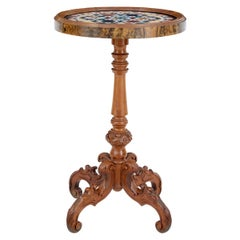 19th Century Walnut Specimen Marble Top Side Table