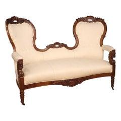 19th Century Walnut Wood White Fabric Italian Sofa Couch, 1880