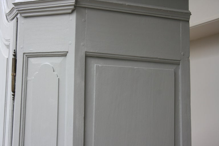 19th Century Wardrobe Made of Oak, Grey Painted For Sale 8