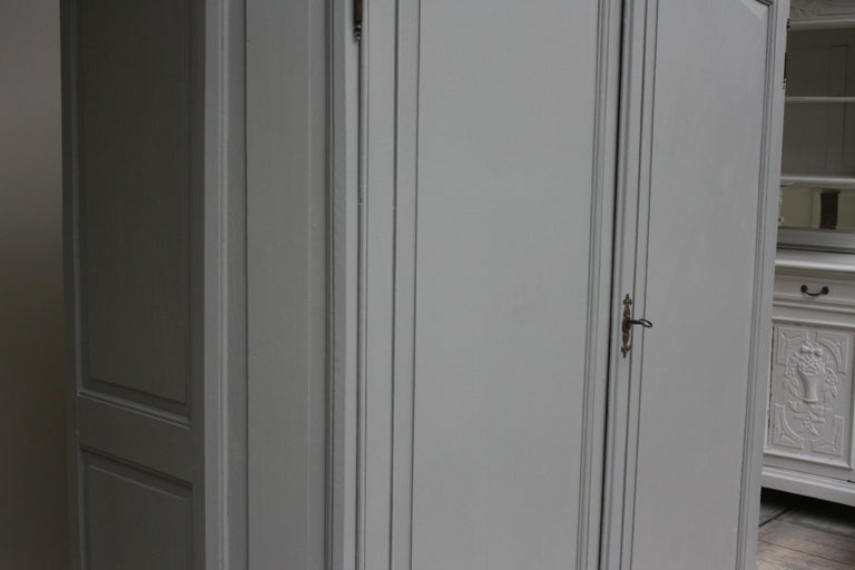 19th Century Wardrobe Made of Oak, Grey Painted For Sale 9