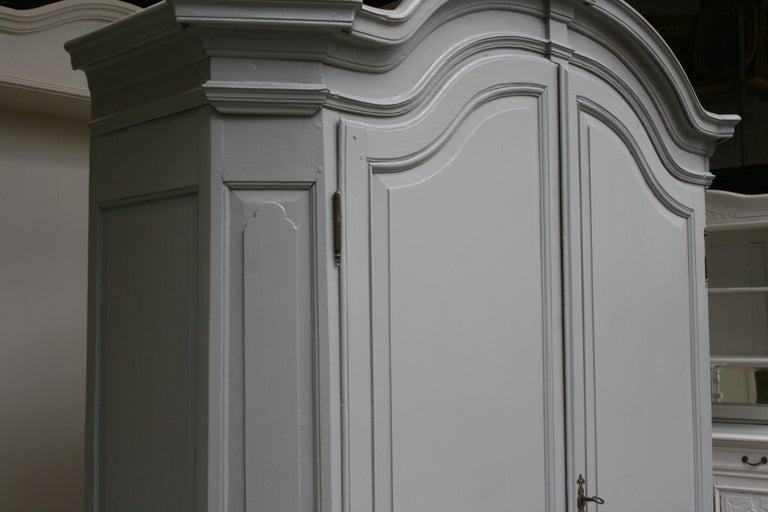 19th Century Wardrobe Made of Oak, Grey Painted For Sale 10