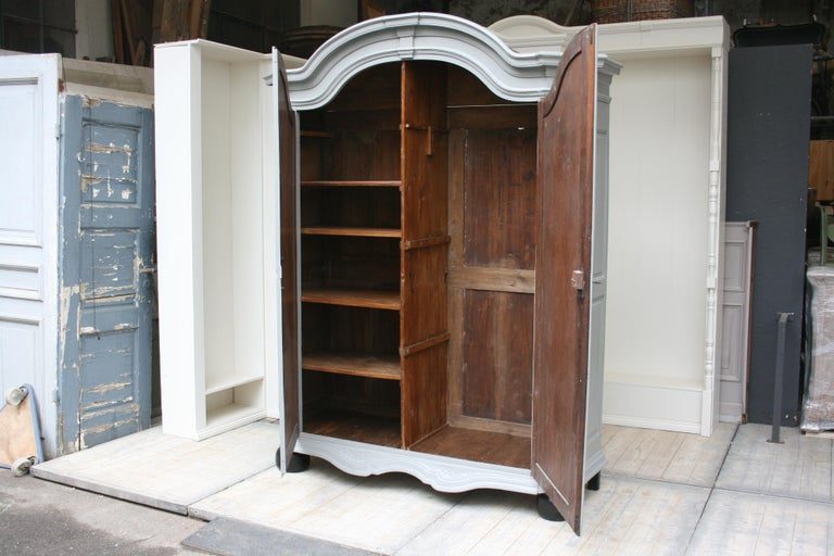 19th Century Wardrobe Made of Oak, Grey Painted For Sale 12