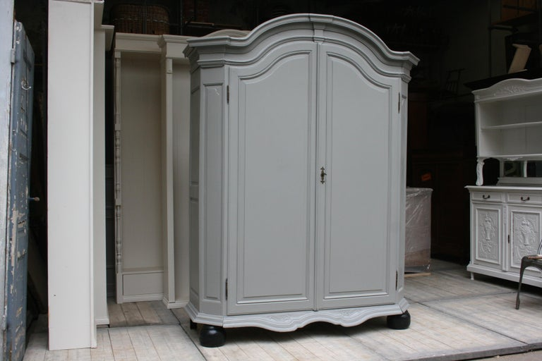 Rococo Revival 19th Century Wardrobe Made of Oak, Grey Painted For Sale