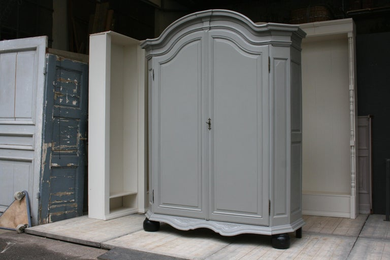 European 19th Century Wardrobe Made of Oak, Grey Painted For Sale
