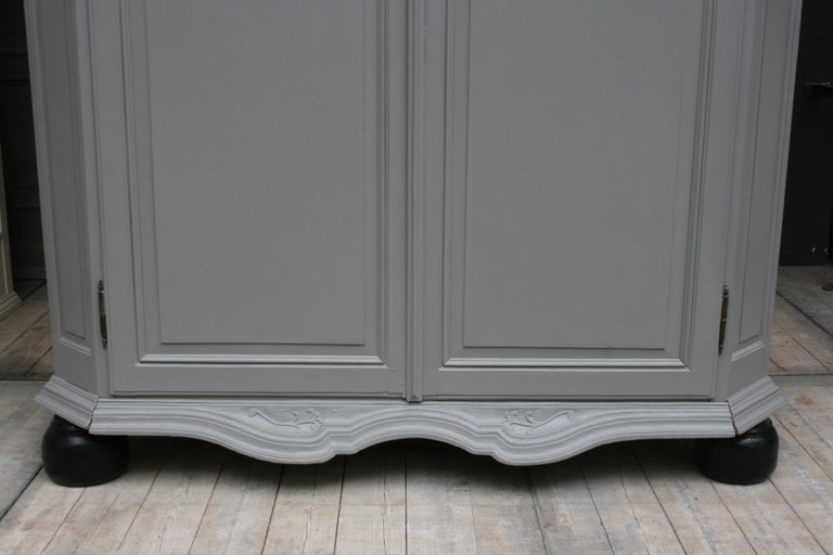 19th Century Wardrobe Made of Oak, Grey Painted For Sale 1