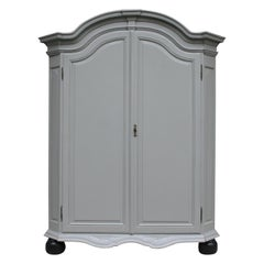 19th Century Wardrobe Made of Oak, Grey Painted