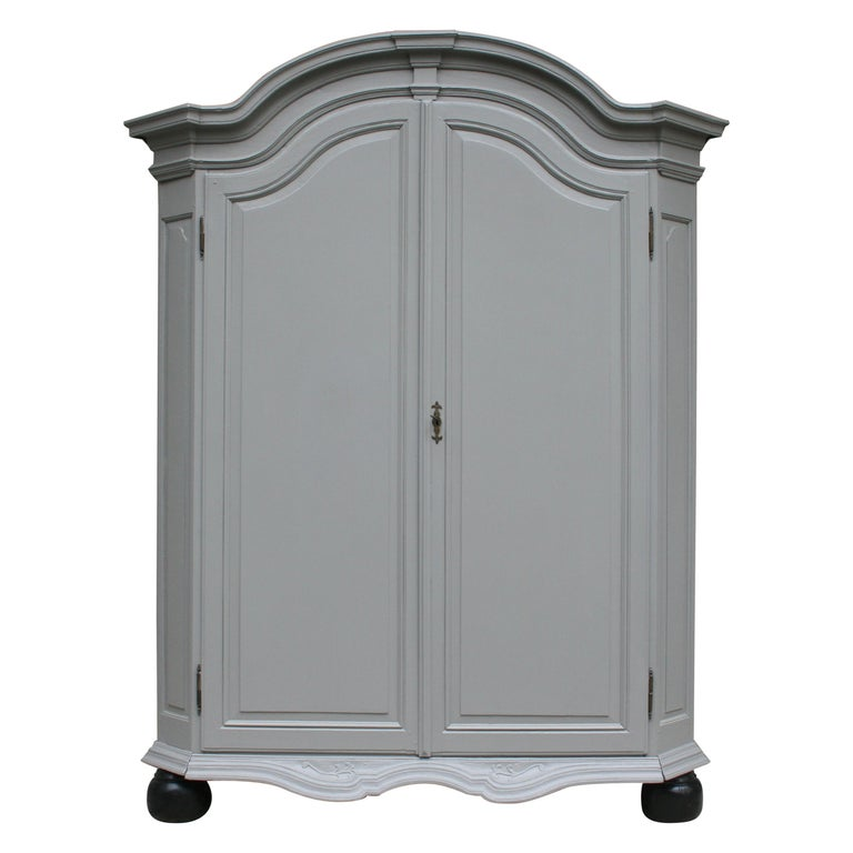 19th Century Wardrobe Made of Oak, Grey Painted For Sale