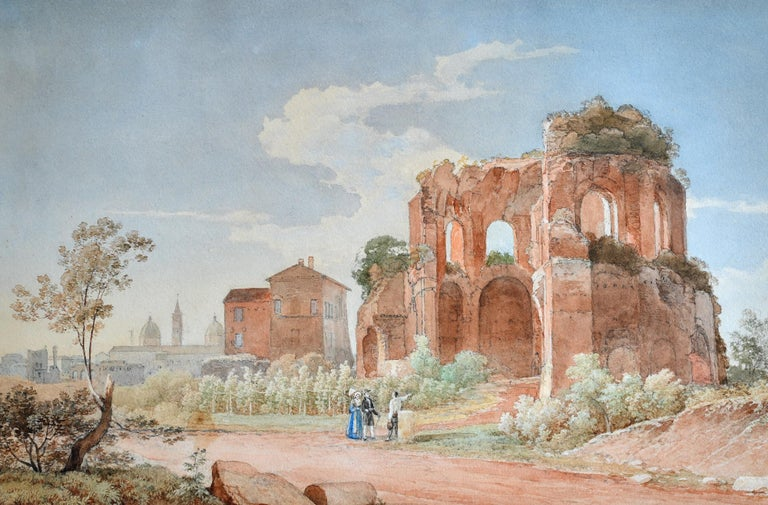 Watercolor of a Roman ruin Rome around 1849 In the background you can see the two towers at the Piazza del Popolo Fine painting with lots of beautiful details and colors The dimensions of the picture are 45.5 x 29.5cm without frame and 63 x 50cm