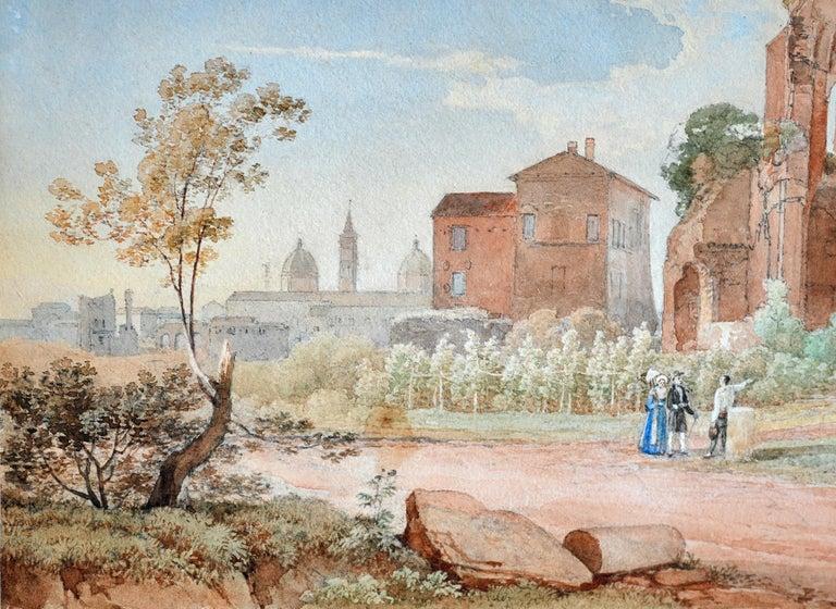 Italian 19th Century Watercolor Rome Signed and Dated Juillerat 1849 Roman Ruin For Sale
