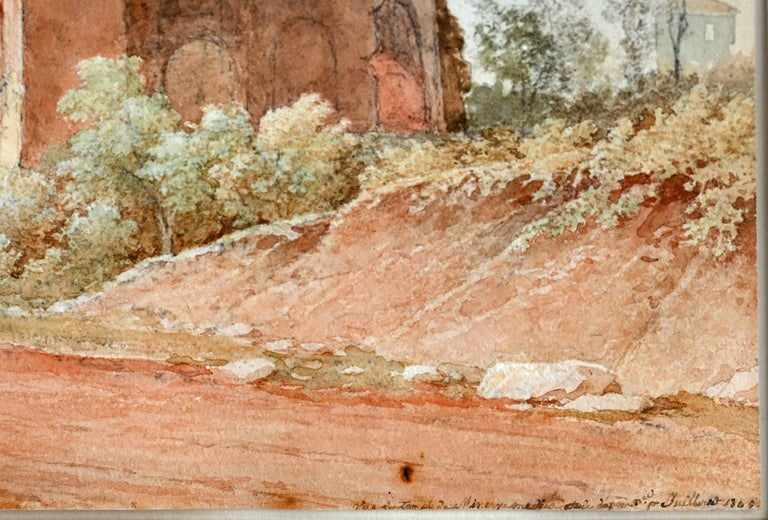 19th Century Watercolor Rome Signed and Dated Juillerat 1849 Roman Ruin In Good Condition For Sale In Epfach, DE