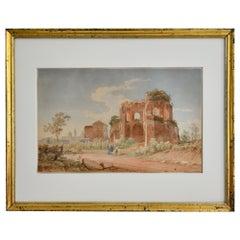 19th Century Watercolor Rome Signed and Dated Juillerat 1849 Roman Ruin
