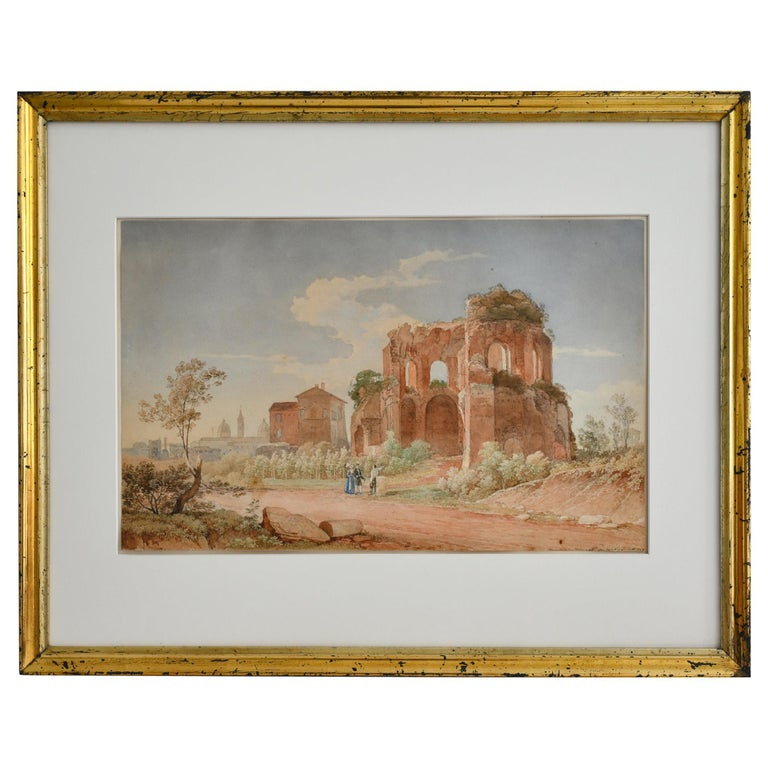 19th Century Watercolor Rome Signed and Dated Juillerat 1849 Roman Ruin For Sale