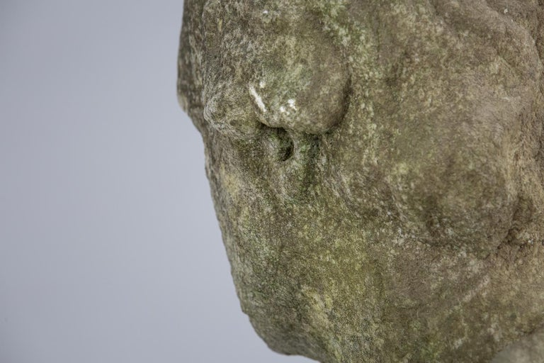 19th Century Weathered English Marble Bust For Sale 11