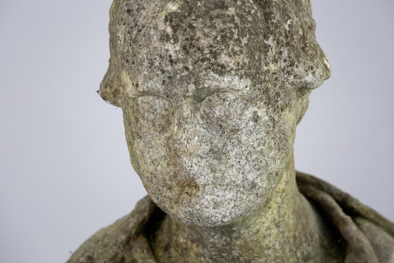British 19th Century Weathered English Marble Bust For Sale