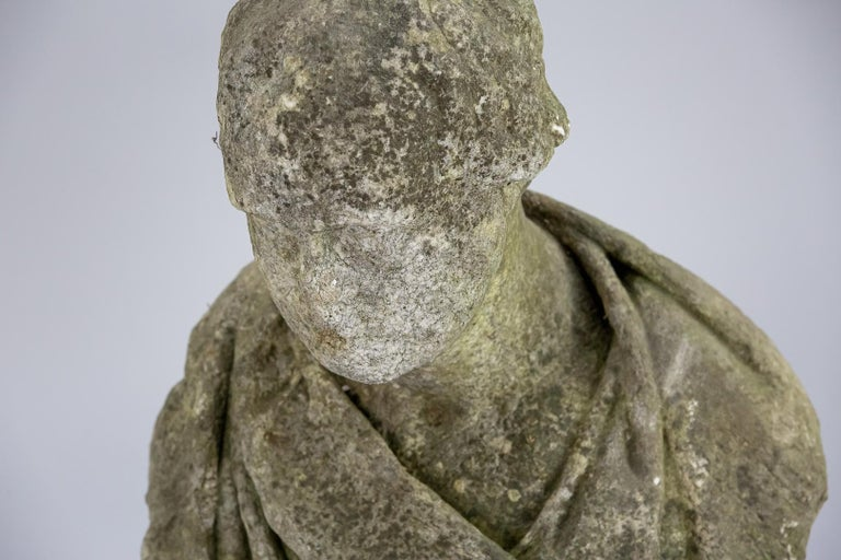 Hand-Carved 19th Century Weathered English Marble Bust For Sale