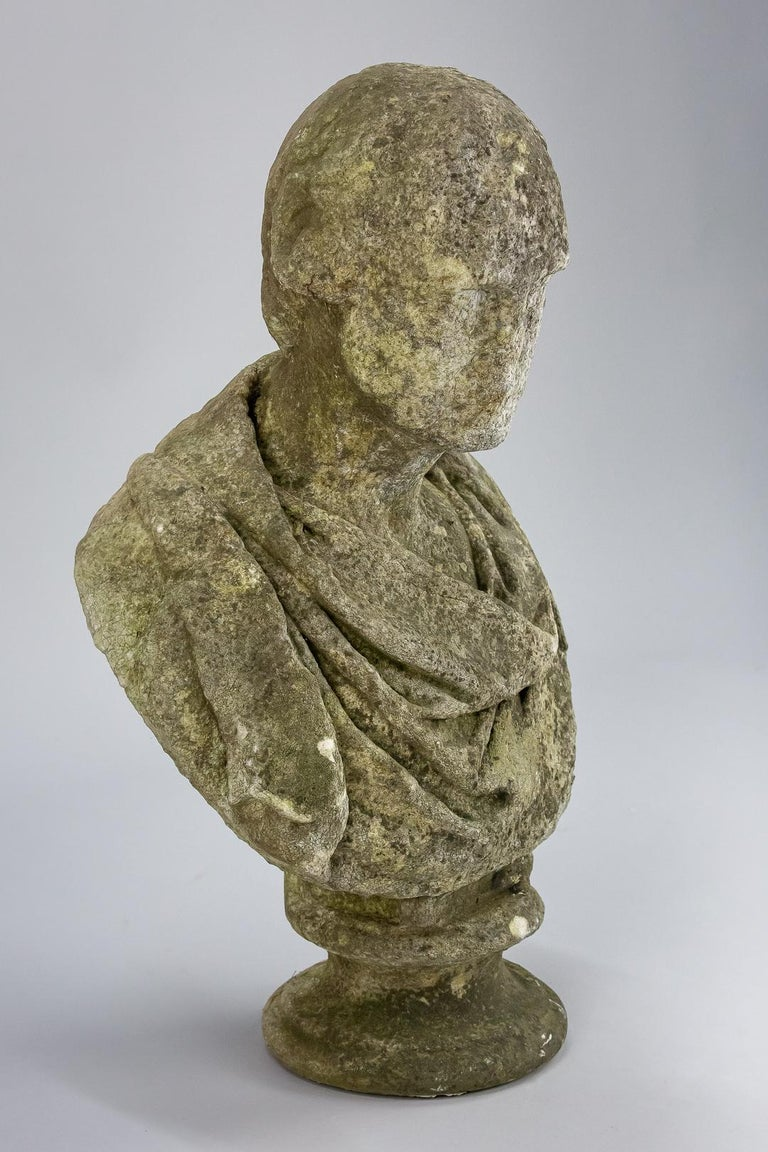 19th Century Weathered English Marble Bust For Sale 1