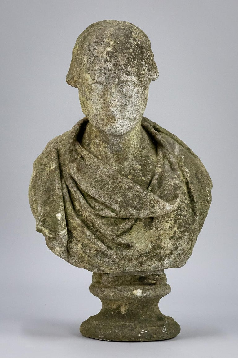 19th Century Weathered English Marble Bust For Sale 2