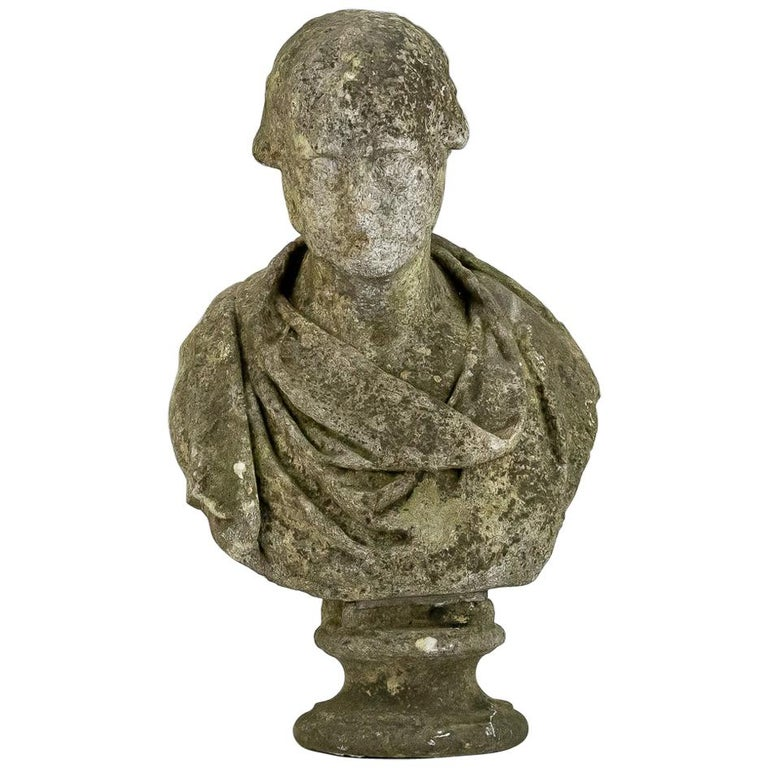 19th Century Weathered English Marble Bust For Sale